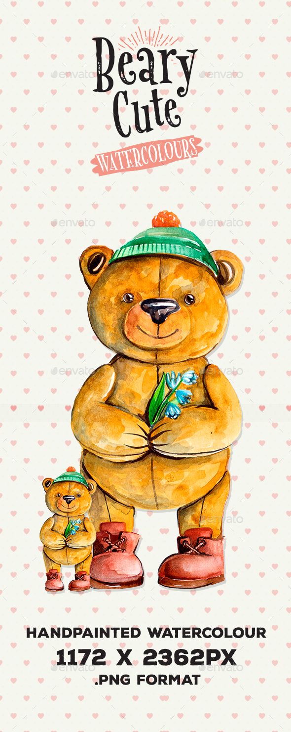 Beary Cute Watercolour Illustration - Characters Illustrations