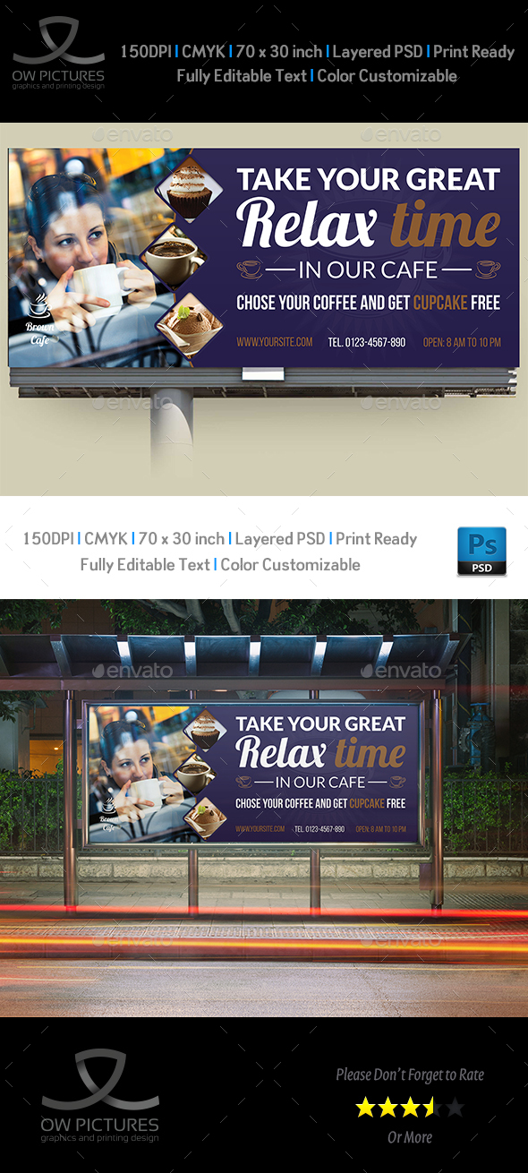 Cafe Billboard Template Vol.4 - Signage Print Templates