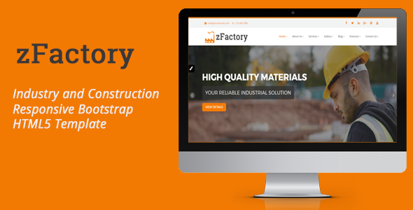 zFactory – Industry and Construction Responsive Bootstrap HTML5 Template