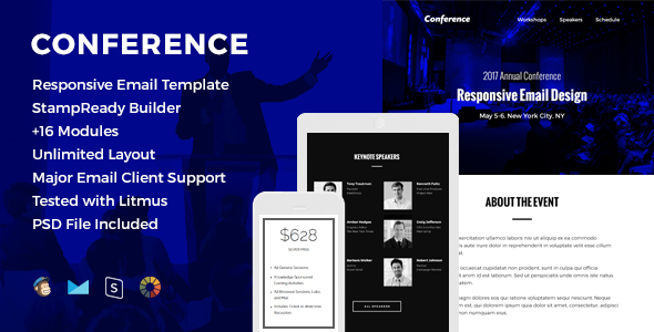 conference responsive email template by hyperpix themeforest