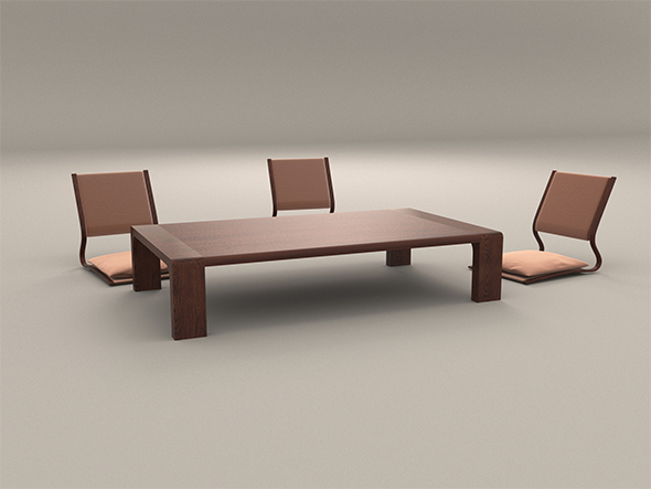 Japanese Style Low Dining Table and Chair - 3DOcean Item for Sale