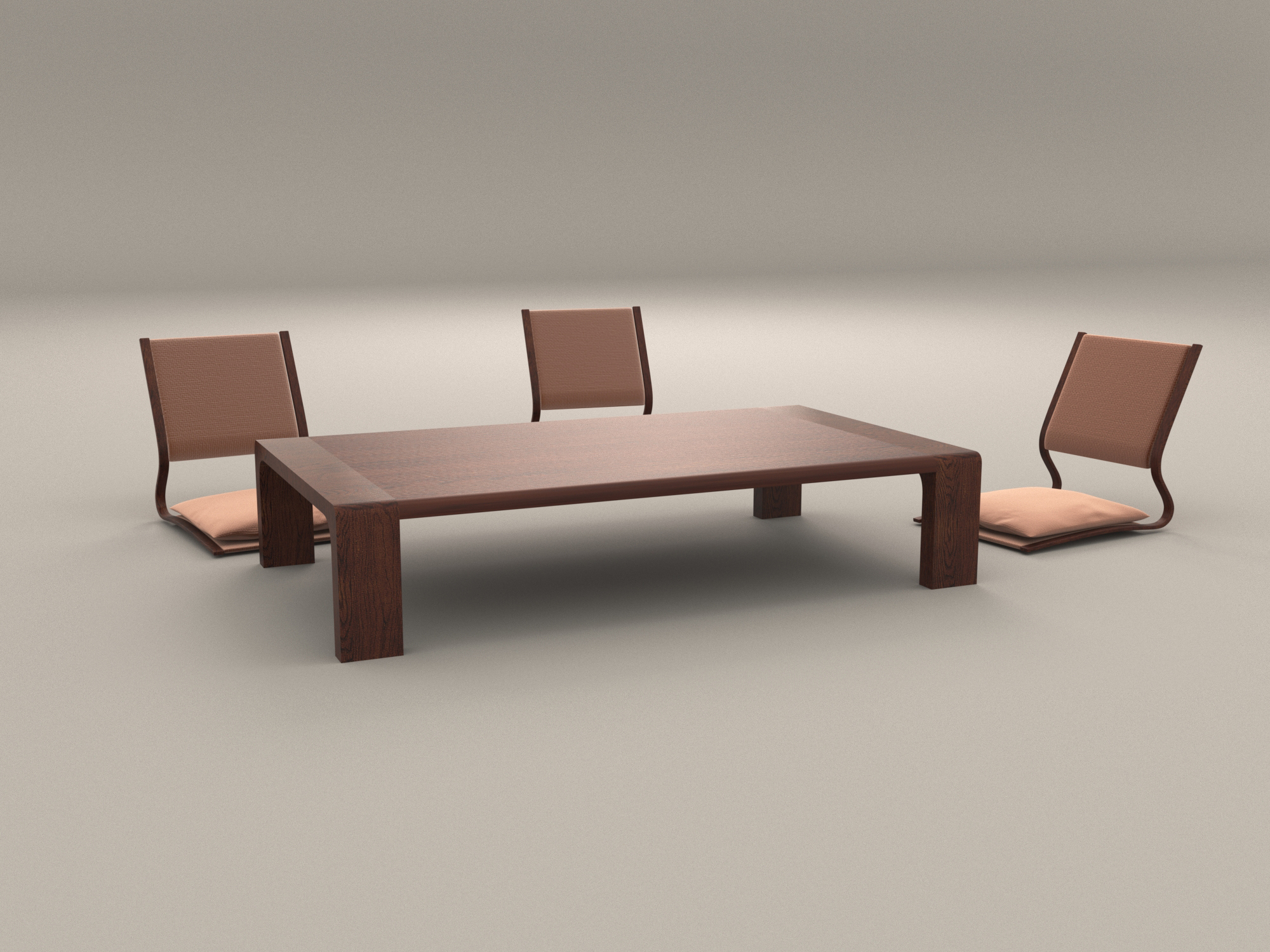Japanese style low dining table and chair by artemishe for Low dining table