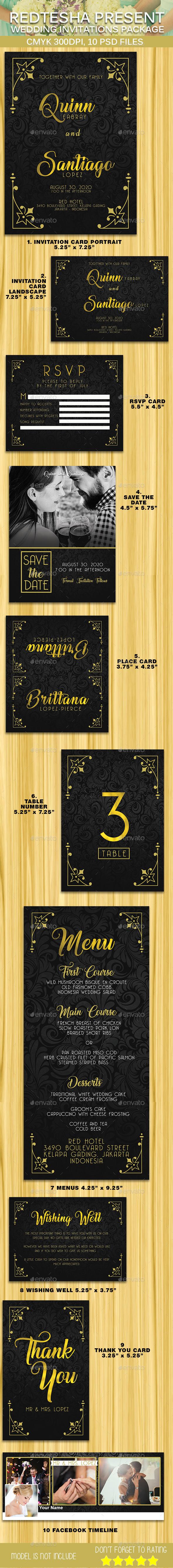 10 Wedding Invitation Package - Weddings Cards & Invites