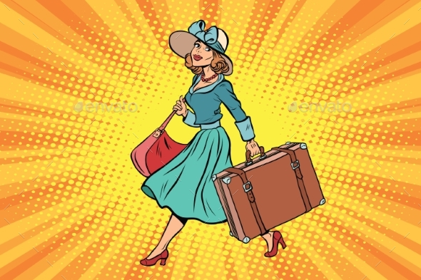 Retro Traveler Girl with a Suitcase - People Characters