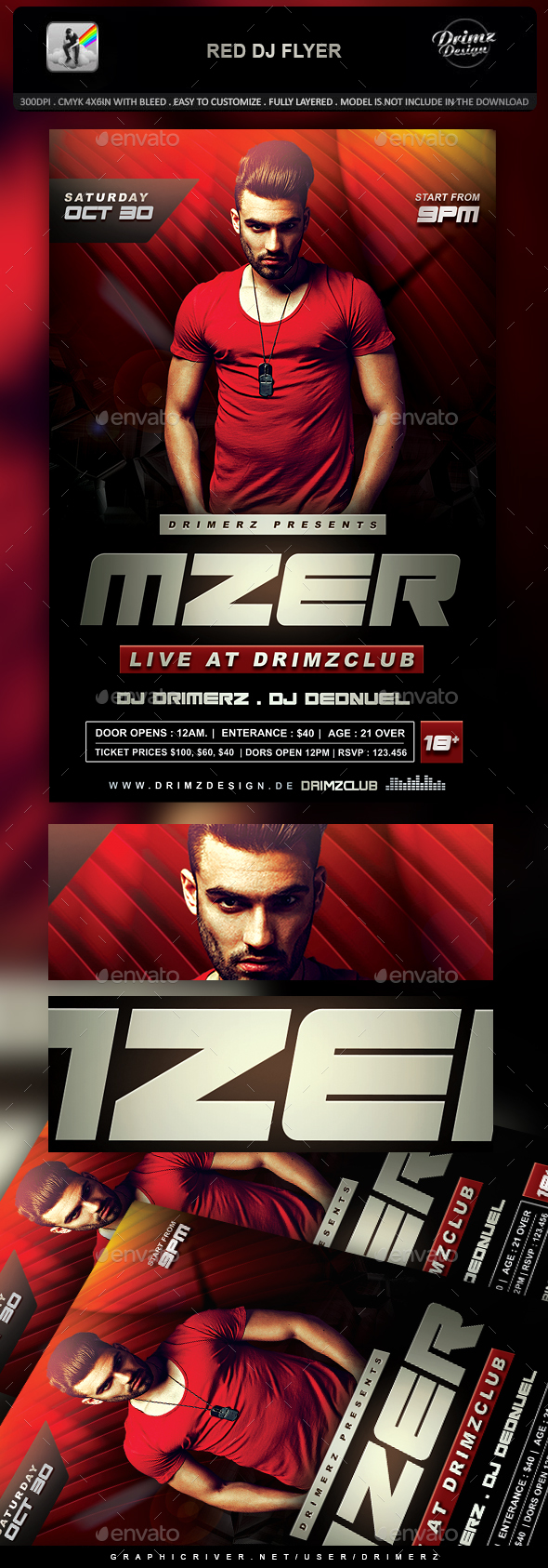 Red DJ Flyer - Clubs & Parties Events