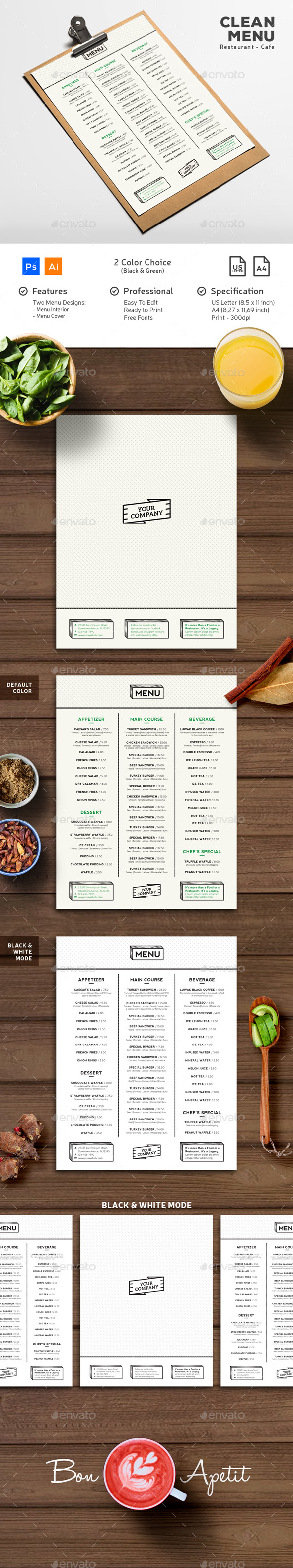 Clean Minimalist Menu - Food Menus Print Templates