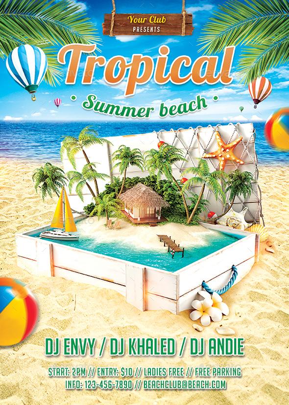Tropical Summer Beach Flyer - Clubs & Parties Events