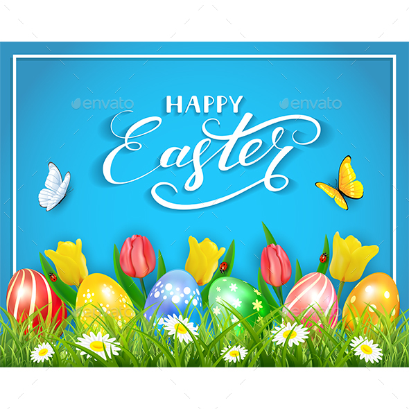 Easter Eggs with Butterflies and Tulips on Blue Background - Miscellaneous Seasons/Holidays