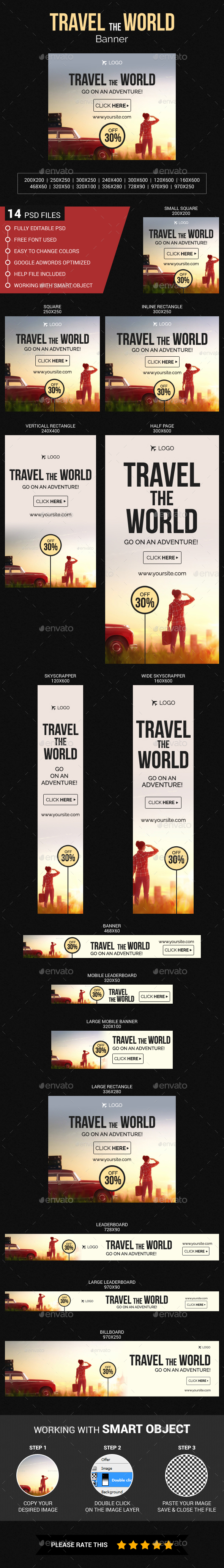 Travel The World Banner - Banners & Ads Web Elements