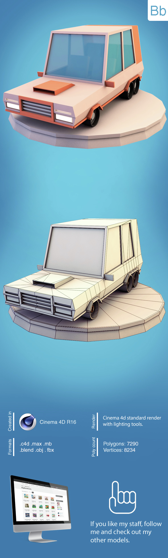 Low poly minivan - 3DOcean Item for Sale