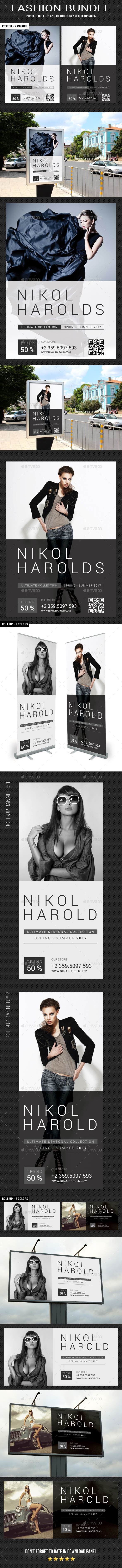 3 Fashion Poster - Banners Bundle - Signage Print Templates