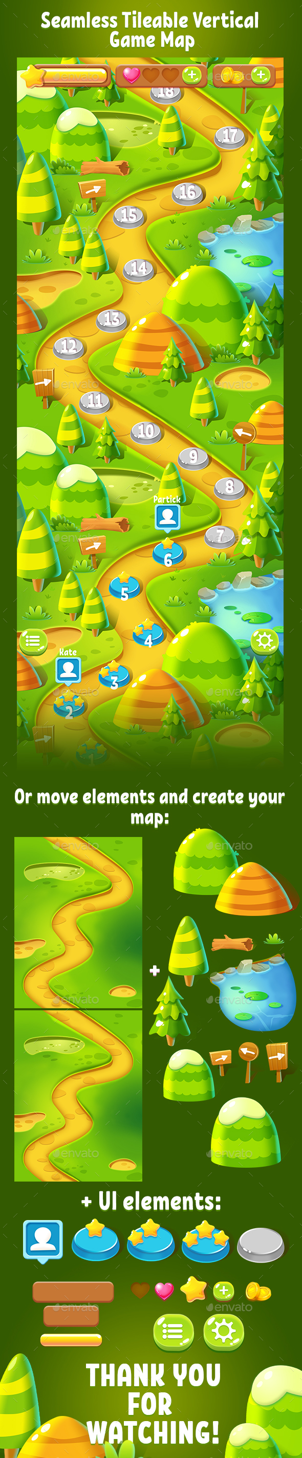 Tileable Seamless Forest Vertical Game Map - Miscellaneous Game Assets