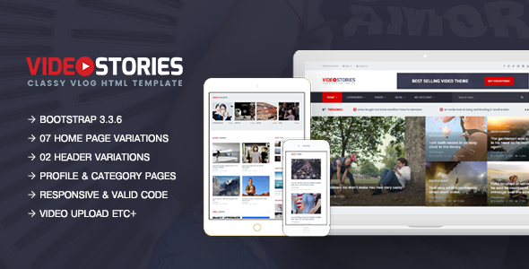 VideoStories – A Powerful Responsive Video Blogging HTML5 Template