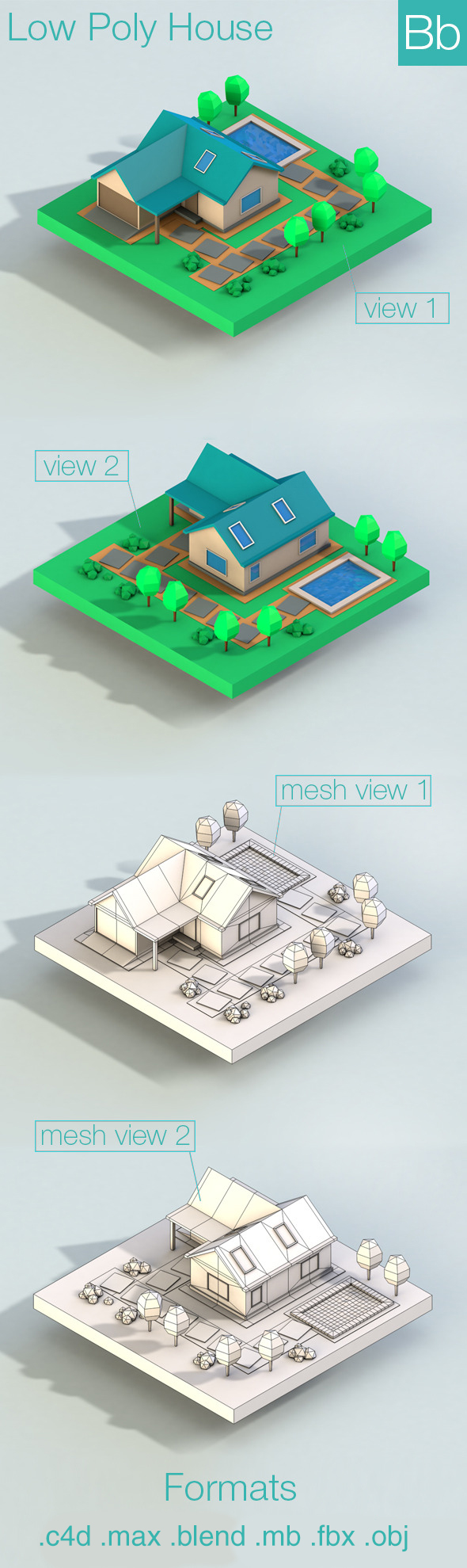 Low Poly House Building - 3DOcean Item for Sale