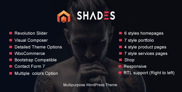 Portfolio Shades - business, creative agency, creative Multipurpose WordPress Theme RTL