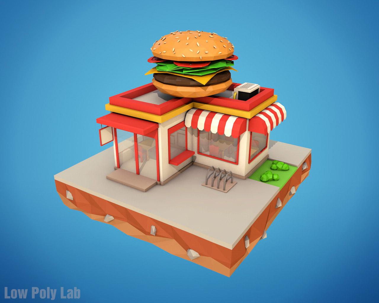 Low Poly Burger Cafe By Bigballsstudio 3docean