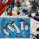 Hands Drawing with Water Color Paints. Artist Workplace. Top View. Nulled