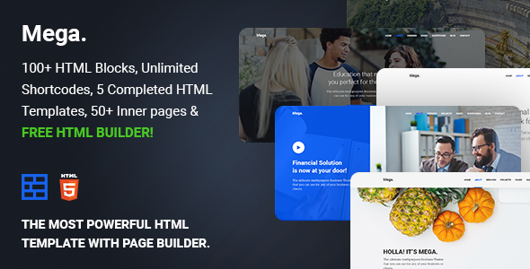 Mega – Multipurpose HTML5 template with builder