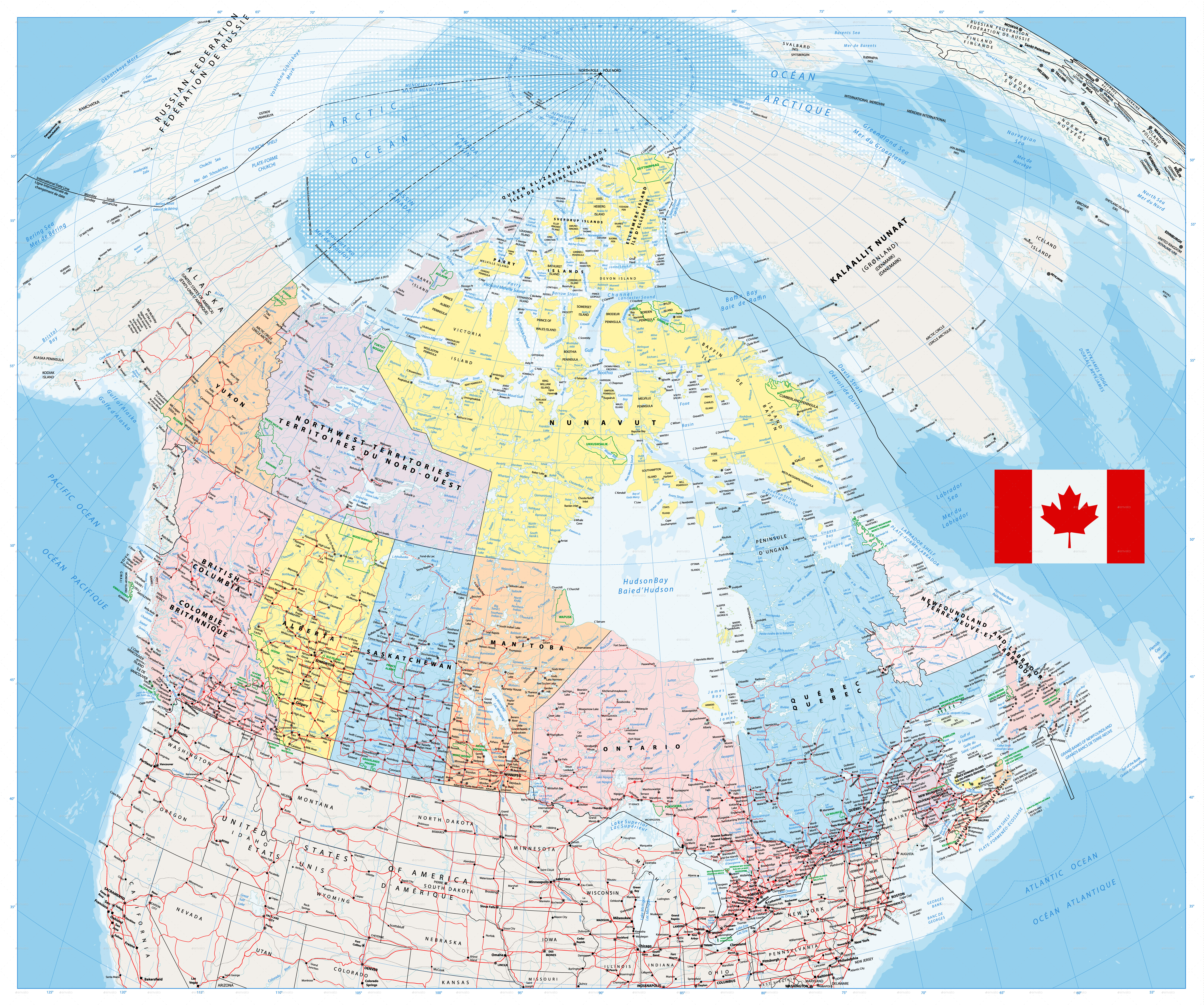 Giant Detailed Political Map Of Canada With Cities And Towns By - Canada political map