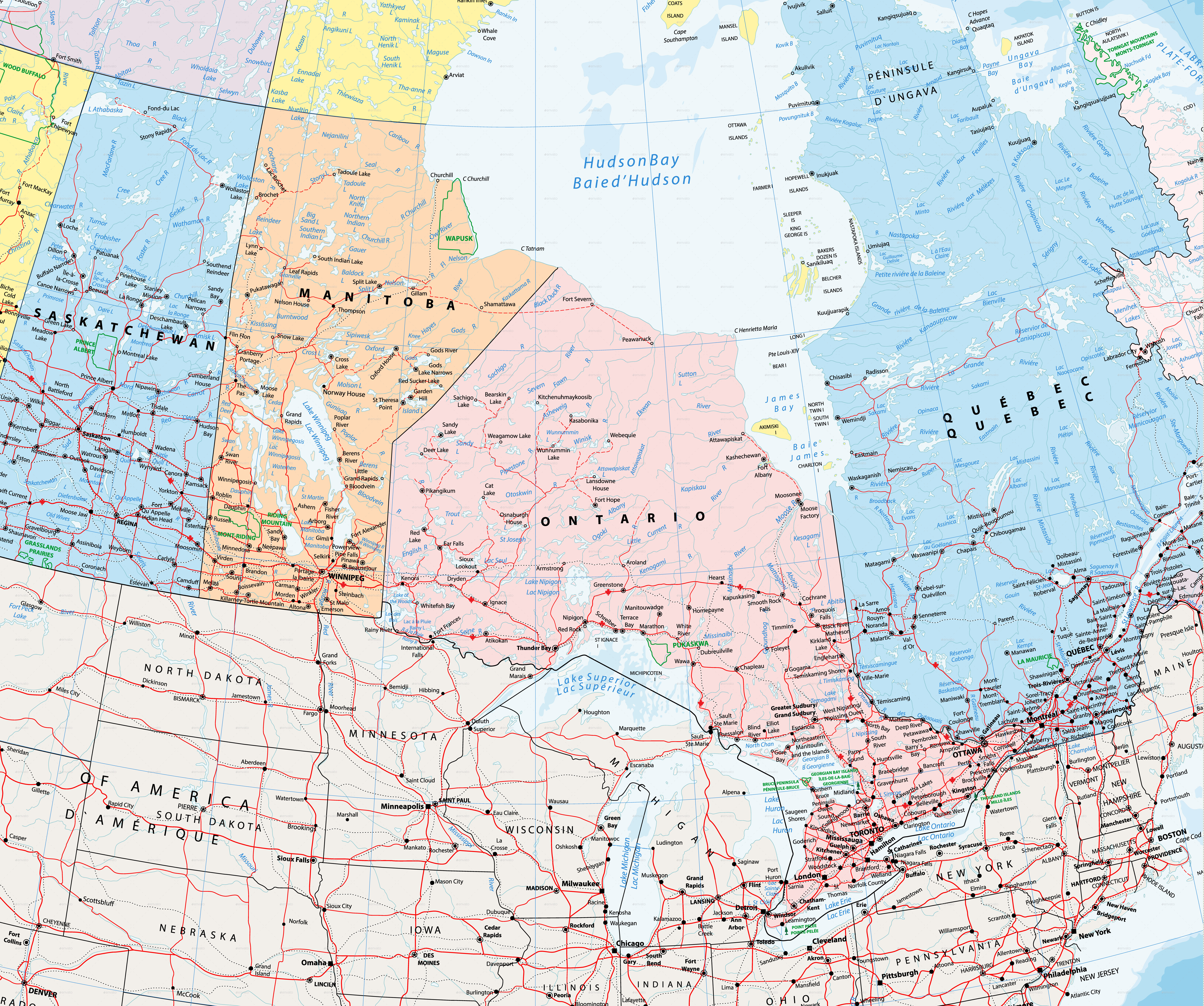 Giant Detailed Political Map of Canada with Cities and Towns by