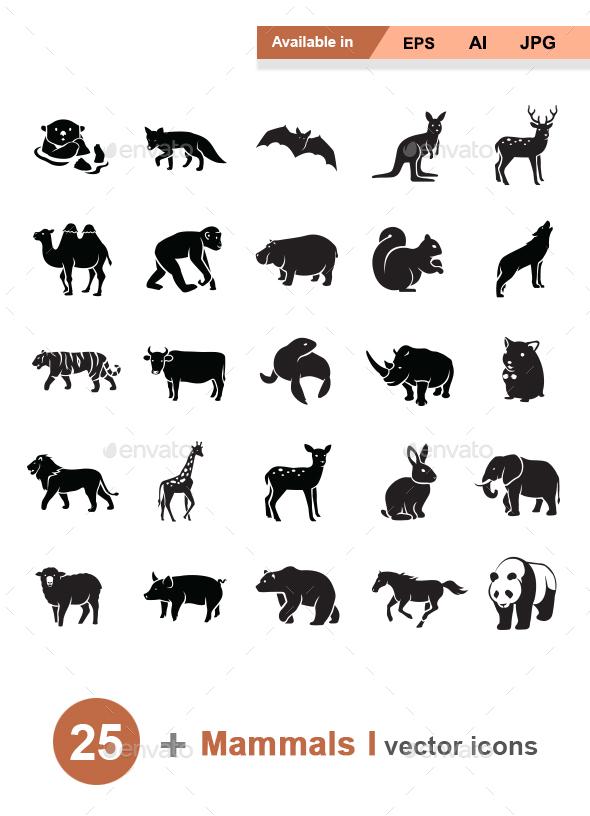 Mammals I vector icons - Animals Characters