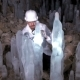 A Scientist Studying Ice Stalagmites in the Cave