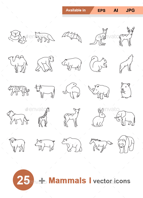 Mammals I Outlines vector icons - Animals Characters