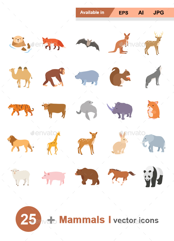 Mammals I Color vector icons - Animals Characters