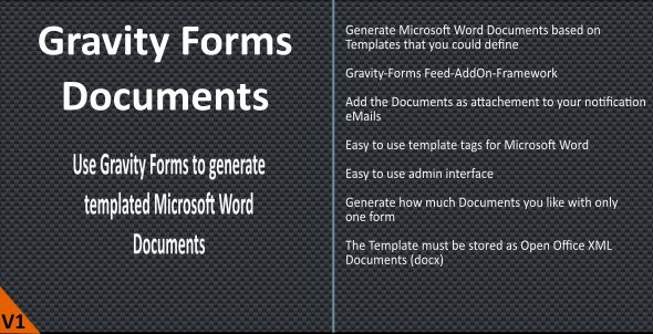 Gravity Forms (Word) Documents - CodeCanyon Item for Sale