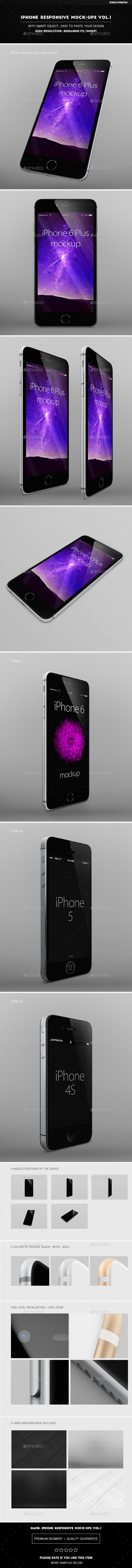 IPhone Responsive Mock-Ups Vol.1 - Product Mock-Ups Graphics