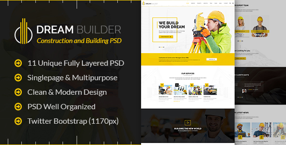Dream Builder - Construction and Building PSD Template - Business Corporate