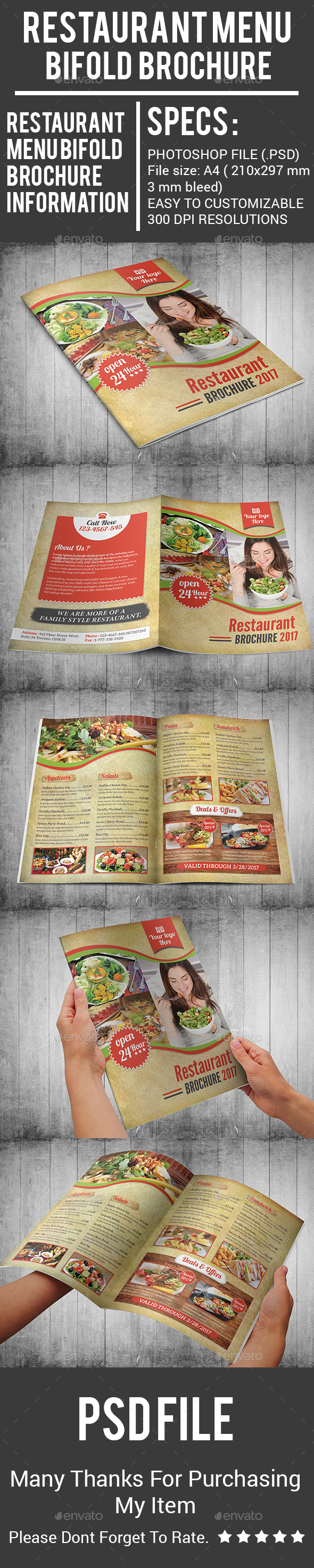 Restaurant Menu Bifold Brochure - Food Menus Print Templates