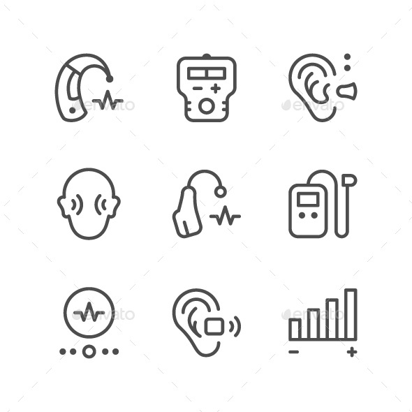 Set Line Icons of Hearing Aid - Man-made objects Objects