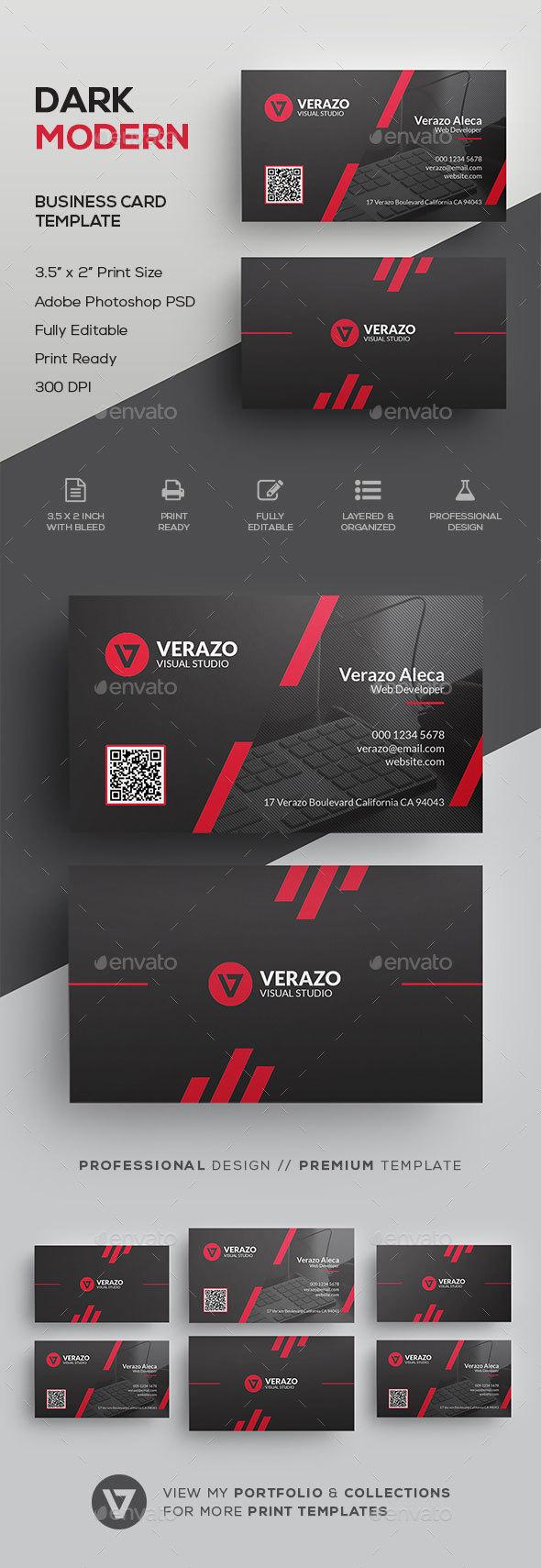 Dark & Modern Corporate Business Card Template - Corporate Business Cards