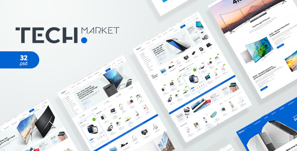 TechMarket - Electronics eCommerce PSD - Retail PSD Templates