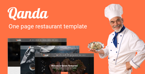 Qanda – One Page Restaurant PSD Template