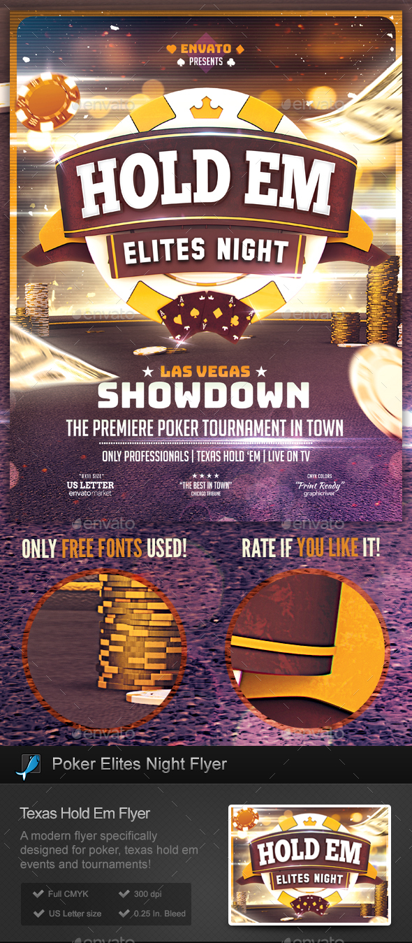 Poker Elite Flyer - Texas Hold Em Template - Miscellaneous Events