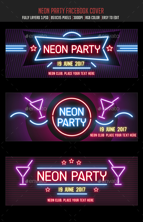 Neon Party Facebook Covers - Facebook Timeline Covers Social Media