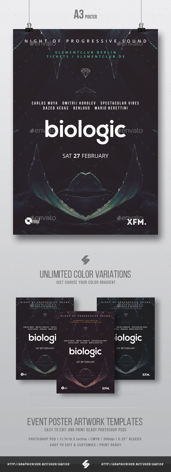 Biologic - Tech-house Minimal Party Flyer / Poster Template A3 - Clubs & Parties Events