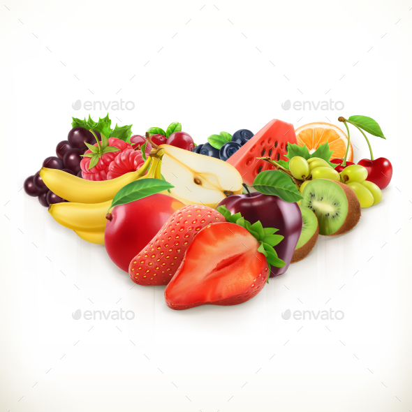 Strawberry and Juicy Fruits - Food Objects