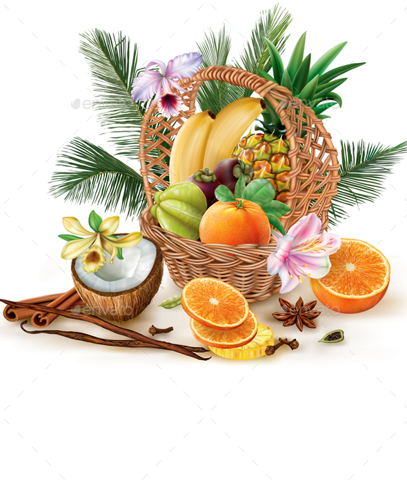Basket with Fruits and Spices - Food Objects
