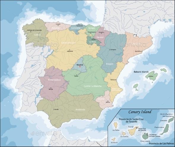 Map of Spain - Borders Decorative