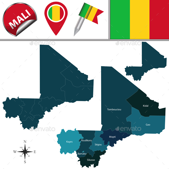 Map of Mali with Named Regions - Travel Conceptual