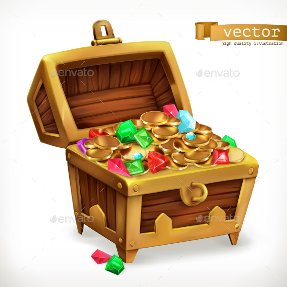 Treasure Chest. Gems And Gold Coins - Vectors