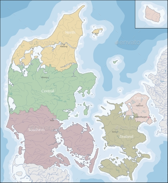 Map of Denmark - Travel Conceptual