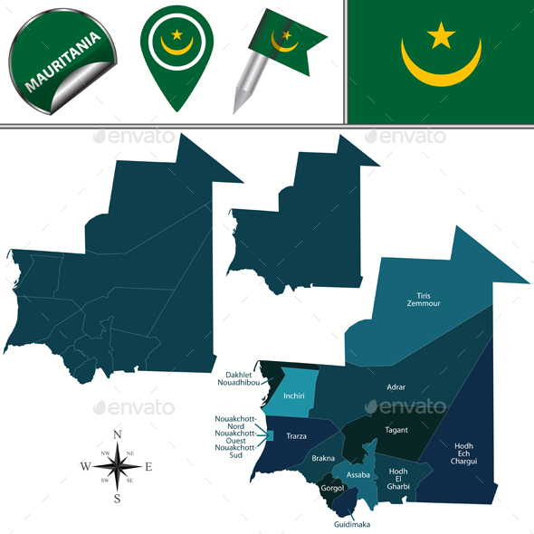 Map of Mauritania with Named Regions - Travel Conceptual