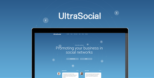 UltraSocial - Social Media Marketing Onepage / Landing Page Template - Marketing Corporate