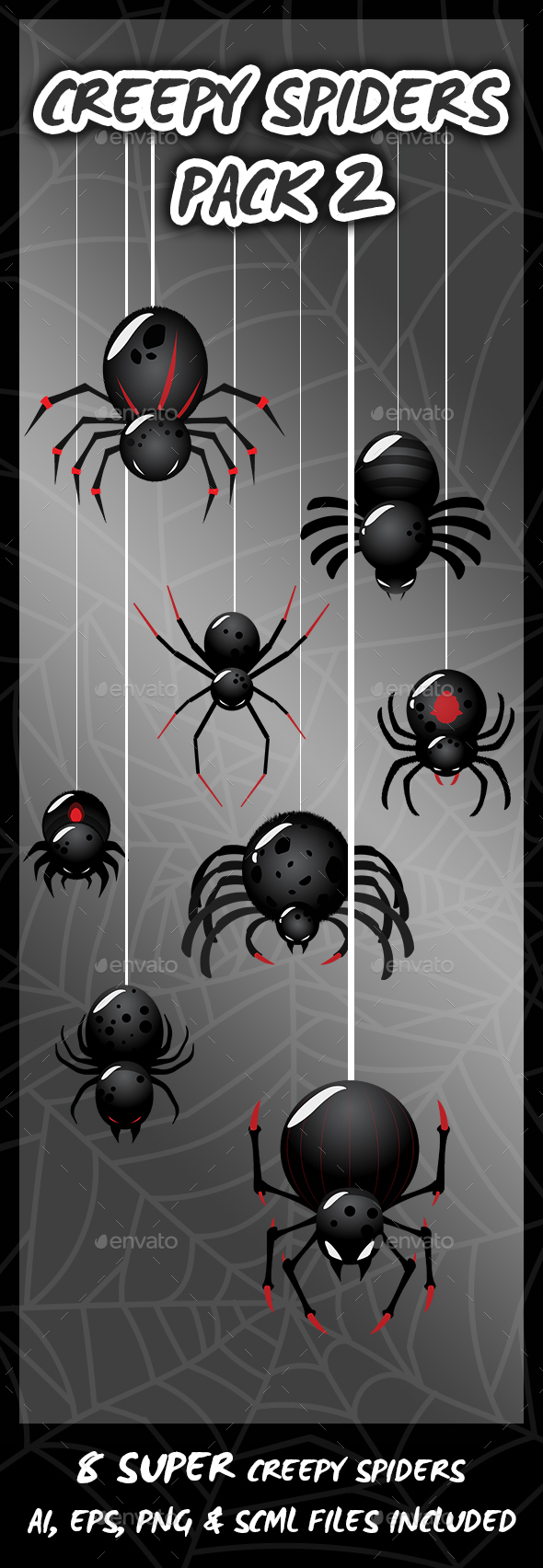 8 Super Creepy Spiders - Sprites Game Assets