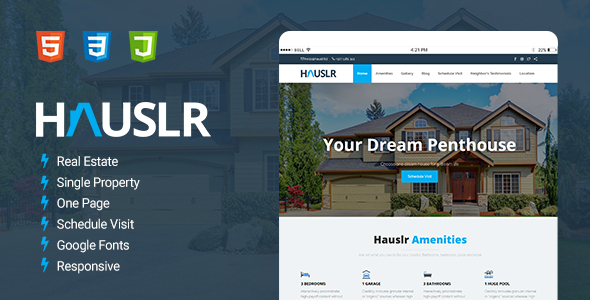 Hauslr - Single Property Modern HTML Template