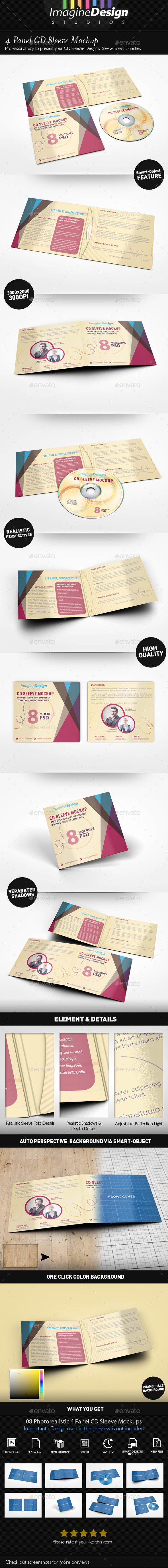 4 Panel CD Sleeve Mockup - Discs Packaging